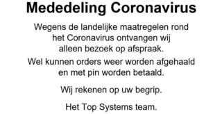 Top Systems-mededeling-coronavirus